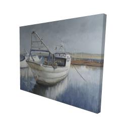 Canvas 48 x 60 - 3D - Blue fishing boat