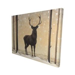Canvas 48 x 60 - 3D - Roe deer in winter