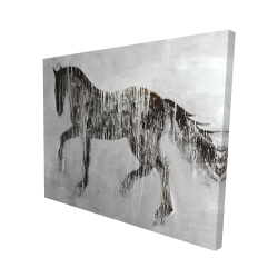 Canvas 48 x 60 - 3D - Horse brown silhouette