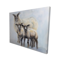 Canvas 48 x 60 - 3D - Sheep family