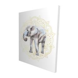 Canvas 48 x 60 - 3D - Elephant on mandalas pattern