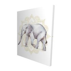 Canvas 48 x 60 - 3D - Elephant on mandalas