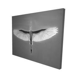 Canvas 48 x 60 - 3D - Great blue heron in flight - bird