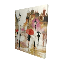 Canvas 48 x 60 - 3D - Passersby under their umbrellas