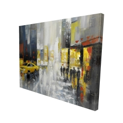 Canvas 48 x 60 - 3D - Rainy busy street