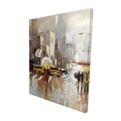 Canvas 48 x 60 - 3D - People with umbrellas walking across the street
