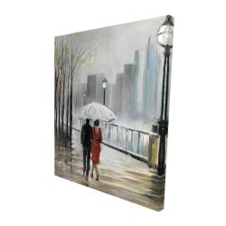 Canvas 48 x 60 - 3D - Couple walking under the rain
