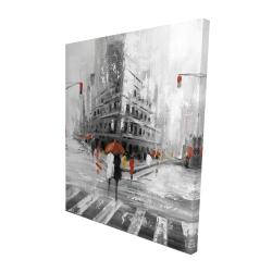 Canvas 48 x 60 - 3D - Greyish flatiron building