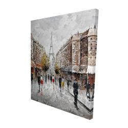 Canvas 48 x 60 - 3D - Paris busy street