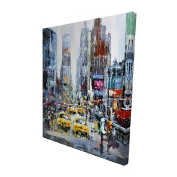 Canvas 48 x 60 - 3D - Urban scene with yellow taxis