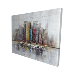Canvas 48 x 60 - 3D - Buildings with typography in relief