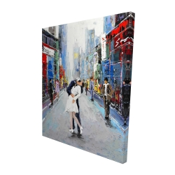 Canvas 48 x 60 - 3D - Kiss of times square