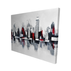 Canvas 48 x 60 - 3D - Gray and red cityscape