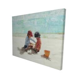 Canvas 48 x 60 - 3D - Little girls at the beach