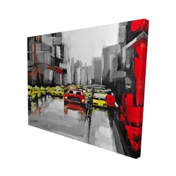 Canvas 48 x 60 - 3D - Abstract traffic by a rainy day