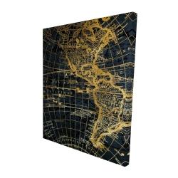 Canvas 48 x 60 - 3D - Blue and marine world map globe