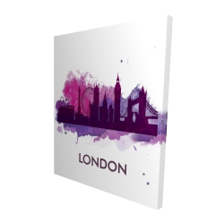 Canvas 48 x 60 - 3D - Purple silhouette of london