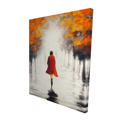 Canvas 48 x 60 - 3D - Woman with a red coat by fall