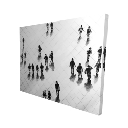 Canvas 48 x 60 - 3D - Overhead view of people on the street