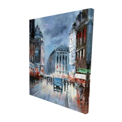 Canvas 48 x 60 - 3D - Abstract red and blue city