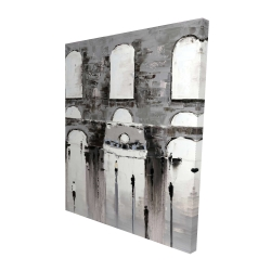 Canvas 48 x 60 - 3D - Gray building with passersby