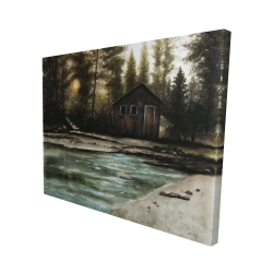 Canvas 48 x 60 - 3D - Cabin in the forest