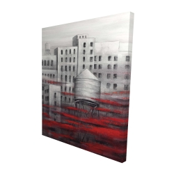 Canvas 48 x 60 - 3D - Gray city with red clouds