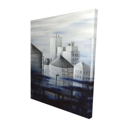 Canvas 48 x 60 - 3D - Gray city with blue clouds
