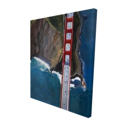 Canvas 48 x 60 - 3D - Overhead view of the golden gate and mountains