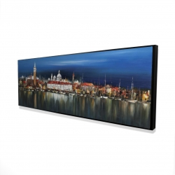 Framed 16 x 48 - 3D - City by night with reflection on water