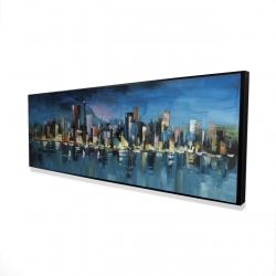 Framed 16 x 48 - 3D - Abstract blue cityscape by night
