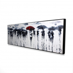 Framed 16 x 48 - 3D - Abstract silhouettes under the rain