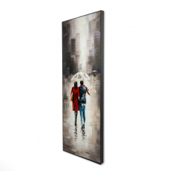 Framed 16 x 48 - 3D - Quiet walk in couple in the rain