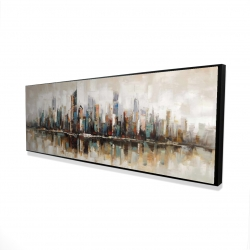 Framed 16 x 48 - 3D - Abstract buildings with textures