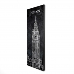 Framed 16 x 48 - 3D - Big ben sketch with a map in background