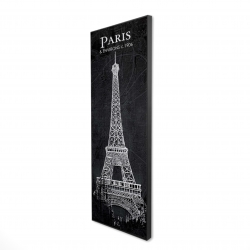 Framed 16 x 48 - 3D - Eiffel tower sketch with a map in background