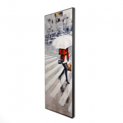 Framed 16 x 48 - 3D - Woman walking with her umbrella