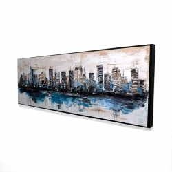 Framed 16 x 48 - 3D - Abstract city with reflection on water
