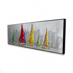 Framed 16 x 48 - 3D - Sailboats in the wind