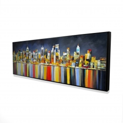 Framed 16 x 48 - 3D - Colorful reflection of a cityscape by night