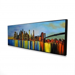 Framed 16 x 48 - 3D - City by night with a bridge