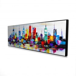 Framed 16 x 48 - 3D - Abstract and colorful city