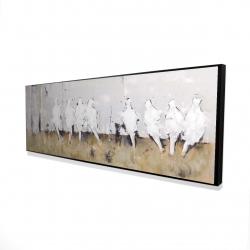 Framed 16 x 48 - 3D - Eight perched birds