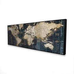 Encadré 16 x 48 - 3D - Carte du monde vintage