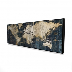 Framed 16 x 48 - 3D - Vintage world map