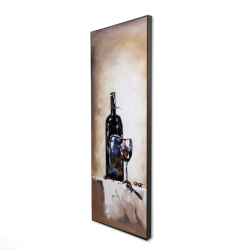 Framed 16 x 48 - 3D - Bottle and a glass of red wine