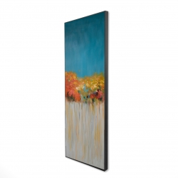 Framed 16 x 48 - 3D - Colorful abstract flowers on a grey background
