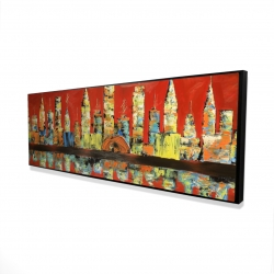 Framed 16 x 48 - 3D - Red abstract skyline