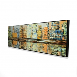 Framed 16 x 48 - 3D - Reflections of a colorful city