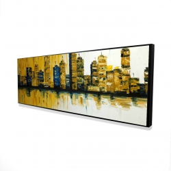 Framed 16 x 48 - 3D - Yellow abstract skyscrapers